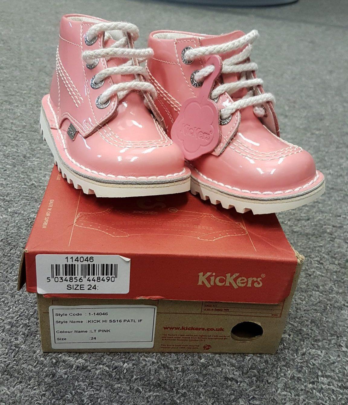 Kicker Girls Boots Candy Pink Patent