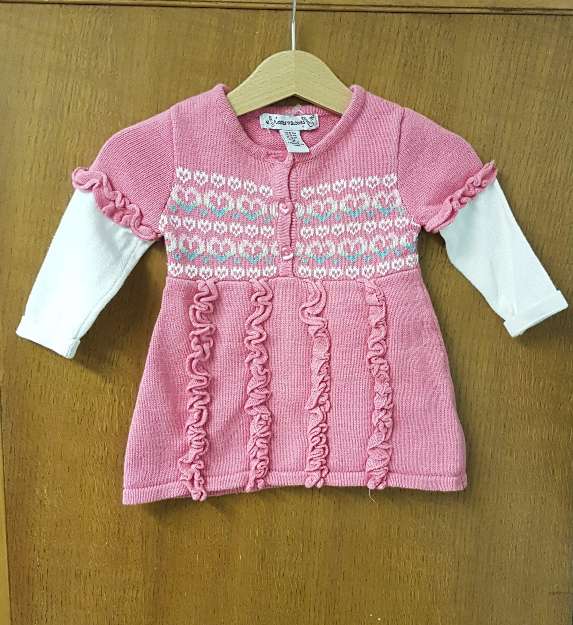 45a4faf223e3 Puddles   Bubbles Dress Pink Knit 0-3 months